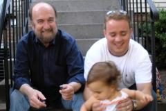 Bill having fun with son John and Granddaughter Wally
