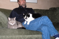 Bill with the two cats
